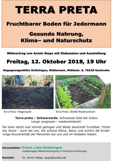 Terra Preta: Fruchtbarer Boden für Jedermann, Gesunde Nahrung, Klima- und Naturschutz @ Begegnungsstätte Grötzingen, Niddaraum