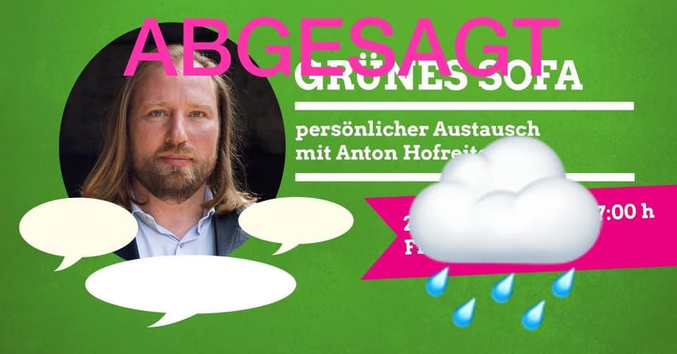 ABGESAGT: Grünes Sofa mit Toni Hofreiter fällt ins Wasser