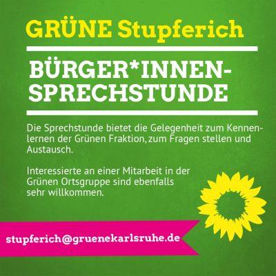 Stupferich - Bürger*innensprechstunde der Grünen Ortschaftsratsfraktion @ Raum 2, Gemeindezentrum