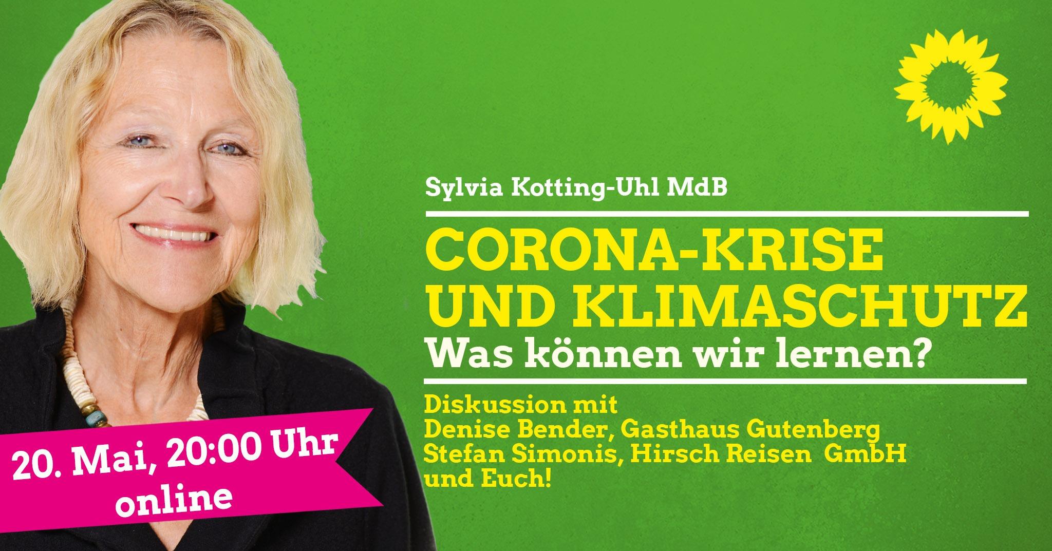 """Webinar mit Sylvia Kotting-Uhl MdB """"Corona-Krise und Klimaschutz: Was können wir lernen?"""""""