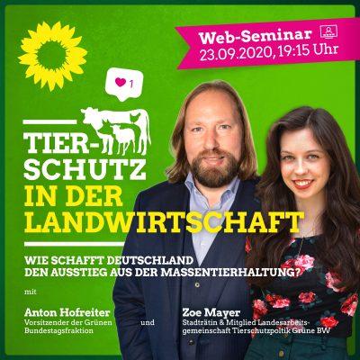 Anton Hofreiter und Zoe Mayer im Web-Seminar: Tierschutz in der Landwirtschaft @ https://register.gotowebinar.com/register/8563820500819612175