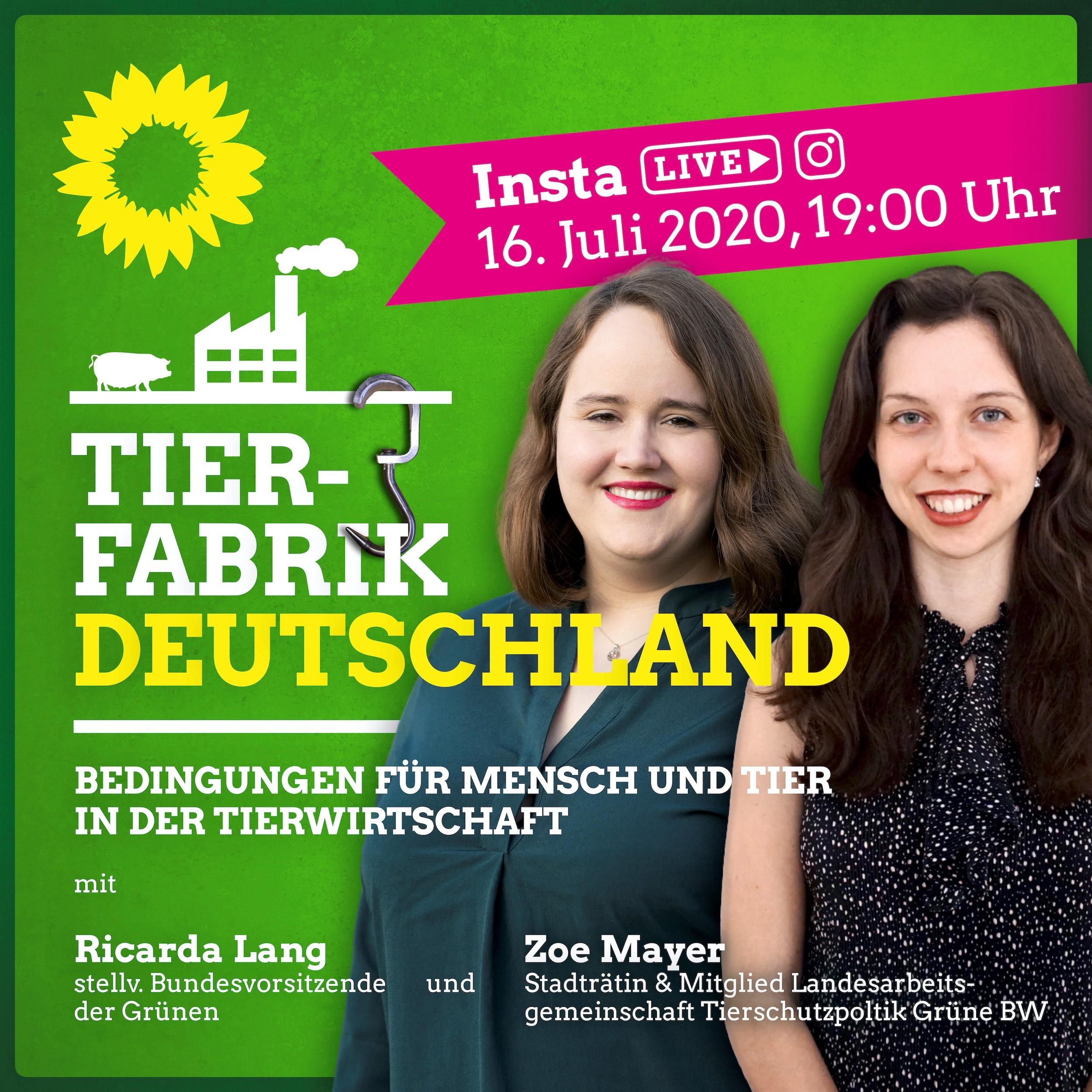 """""""Tierfabrik Deutschland"""" Ricarda und Zoe auf Insta-Live am 16.07.2020 19 Uhr"""