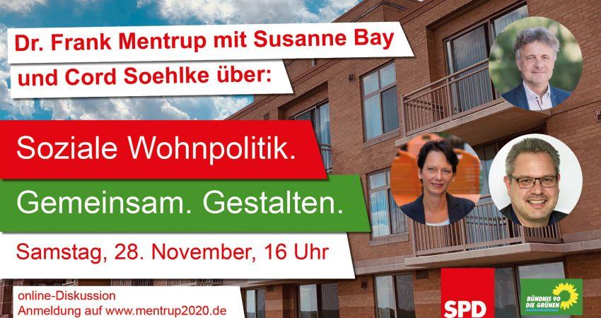 """Sharepic für die Veranstaltung """"Soziale Wohnpolitik mit Frank Mentrup, Susanne Bay und Cord Soehlke"""""""
