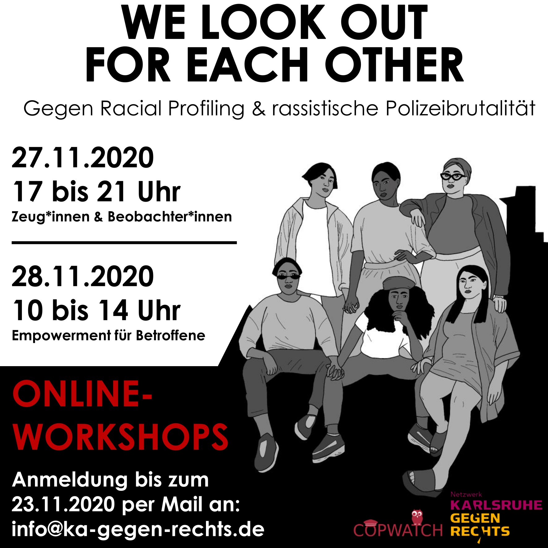 Workshops zum Thema rassistische Polizeibegegnungen für Betroffene und Beobachter*innen