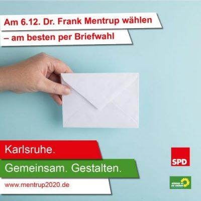 Aufruf zur Briefwahl für die OB-Wahl in Karlsruhe