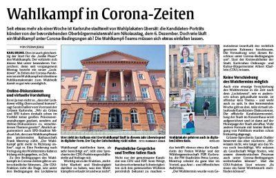 Artikel über den Wahlkampf in Corona-Zeiten aus der Zeitung Rheinpfalz
