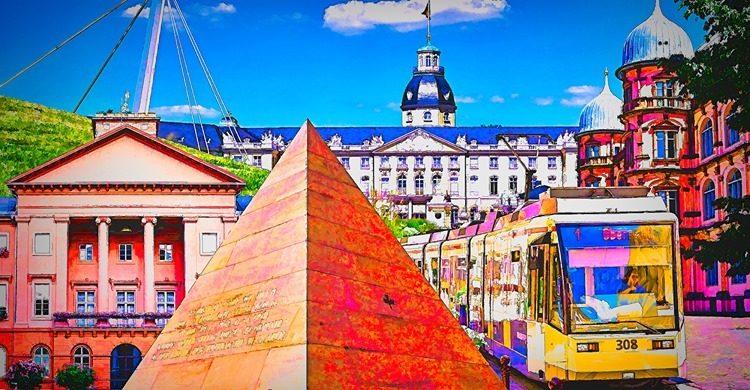 Bildercollage mit dem Karlsruher Schloss, der Pyramide und der Straßenbahn als Foto zum Check der OB-Kandidat*innen des Stadtjugendausschuss'