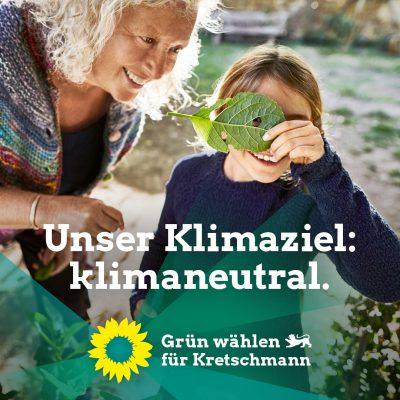 Plakat zur Landtagswahl 2021 Thema Unser Klimaziel: klimaneutral