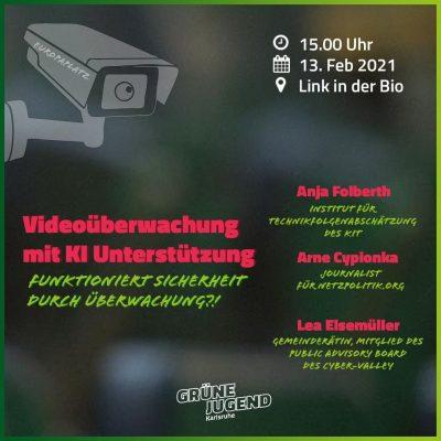 Hinweis: Videoüberwachung mit KI-Unterstützung Veranstaltung unserer GRÜNEN JUGEND @ online