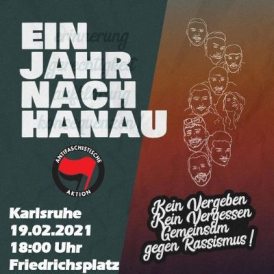 Hinweis: Kundgebung zum 1. Jahrestages der rassistischen Morde von Hanau @ Friedrichsplatz