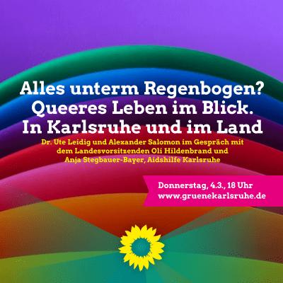 """""""Alles unterm Regenbogen? Queeres Leben im Blick. In Karlsruhe und im Land"""" mit Oli Hildenbrand und Anja Stegbauer-Bayer von der Aidshilfe Karlsruhe"""