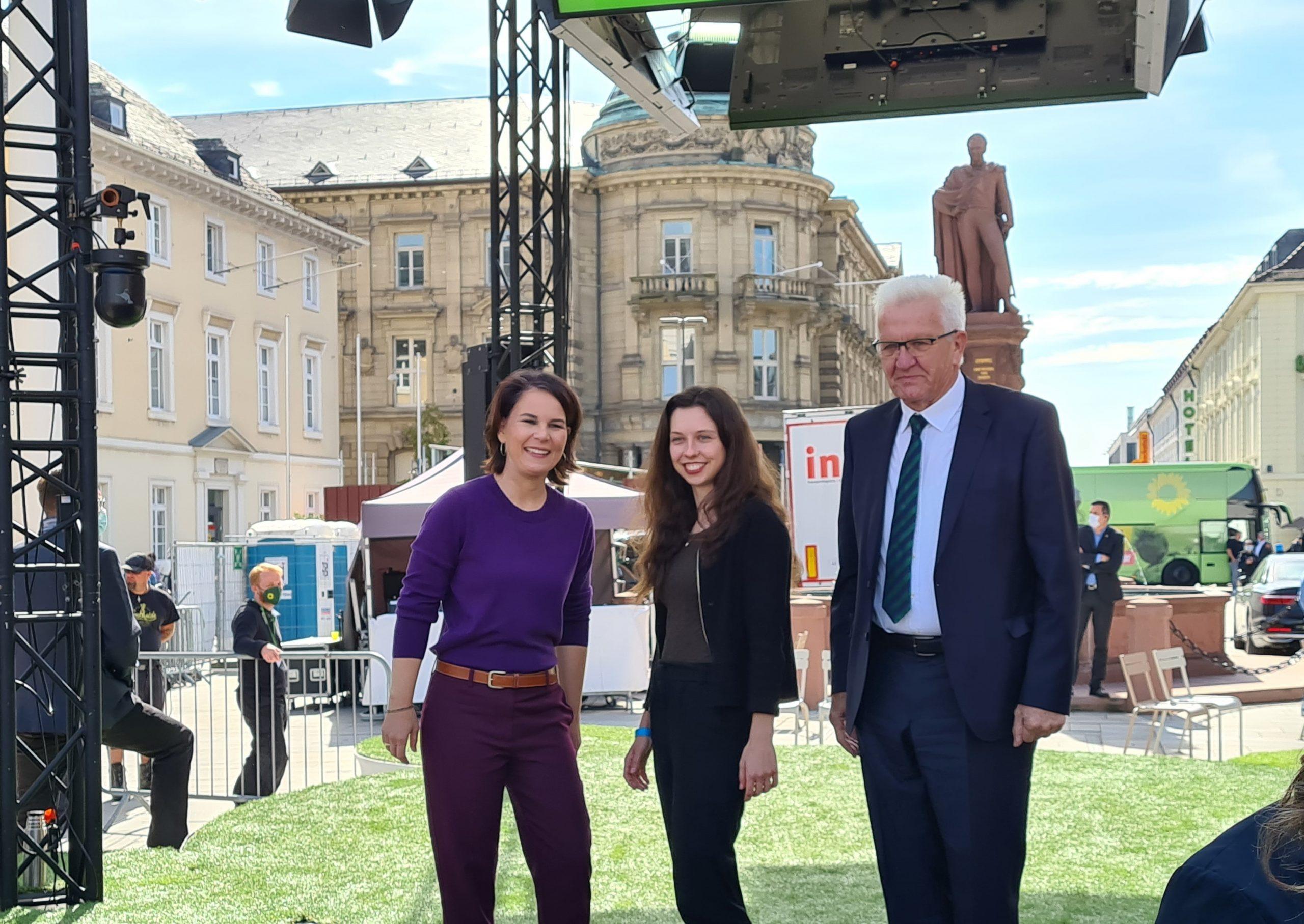 Annalena, Zoe und Winfried in Karlsruhe